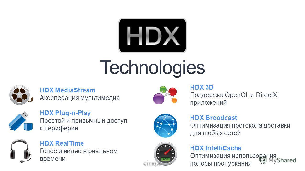 HDX MediaStream Акселерация мультимедиа HDX Plug-n-Play Простой и привычный доступ к периферии HDX RealTime Голос и видео в реальном времени HDX 3D Поддержка OpenGL и DirectX приложений HDX Broadcast Оптимизация протокола доставки для любых сетей HDX