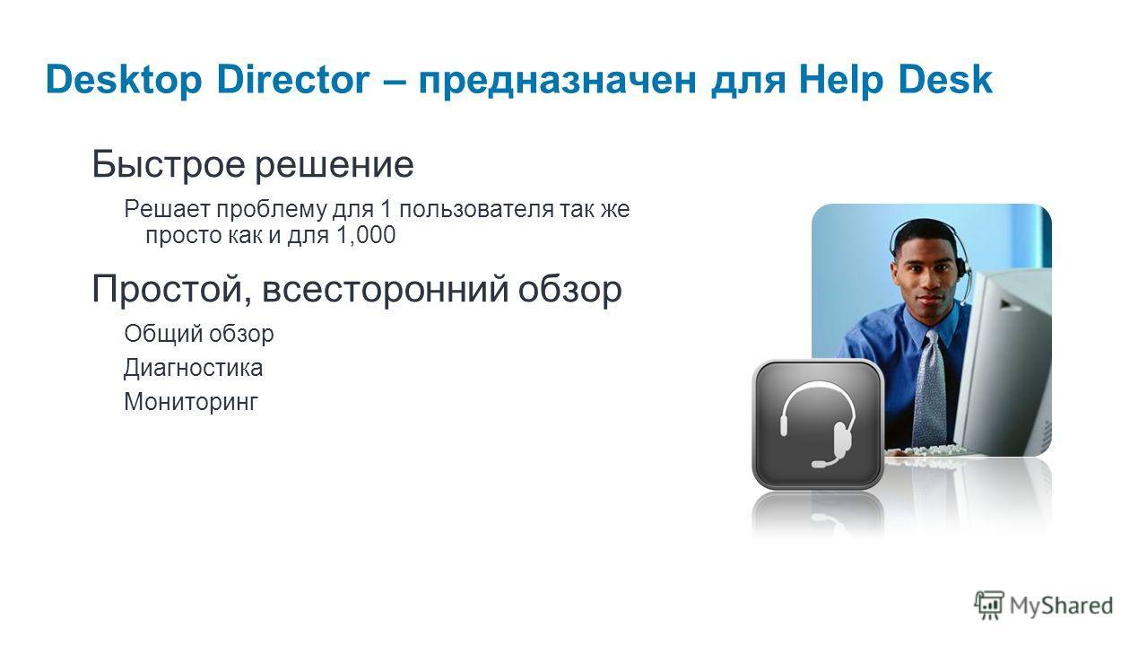 Desktop Director – предназначен для Help Desk Быстрое решение Решает проблему для 1 пользователя так же просто как и для 1,000 Простой, всесторонний обзор Общий обзор Диагностика Мониторинг