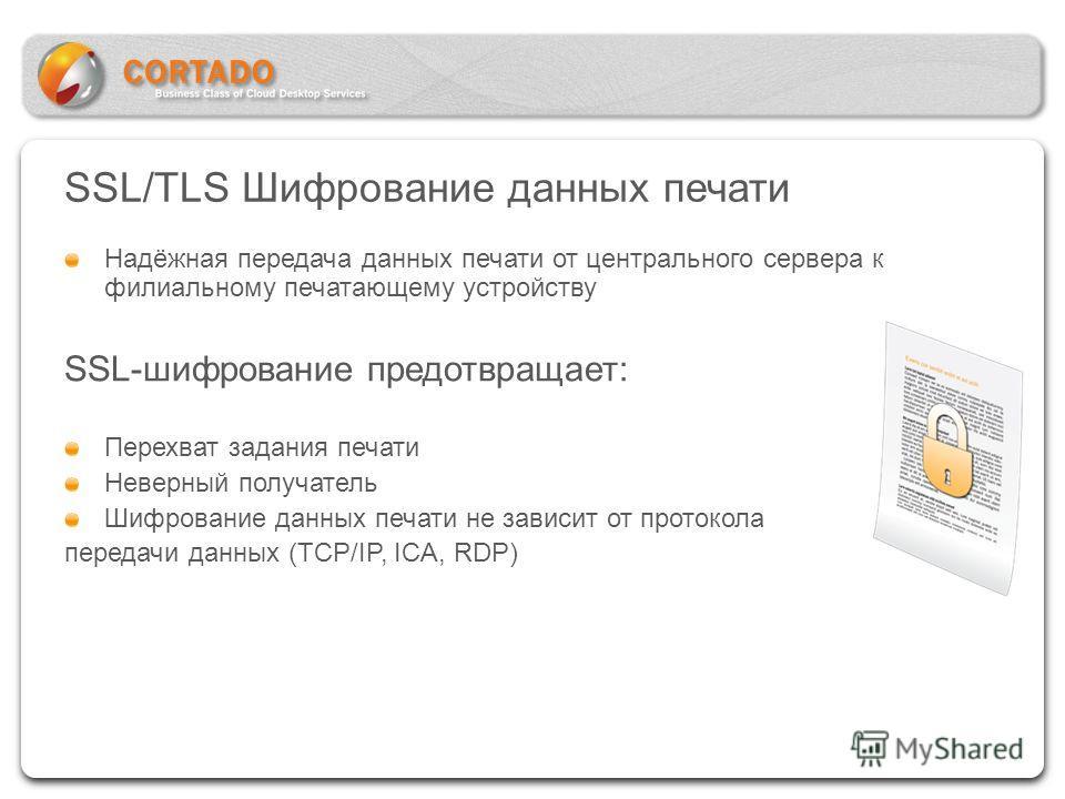 SSL/TLS Шифрование данных печати Надёжная передача данных печати от центрального сервера к филиальному печатающему устройству SSL-шифрование предотвращает: Перехват задания печати Неверный получатель Шифрование данных печати не зависит от протокола п