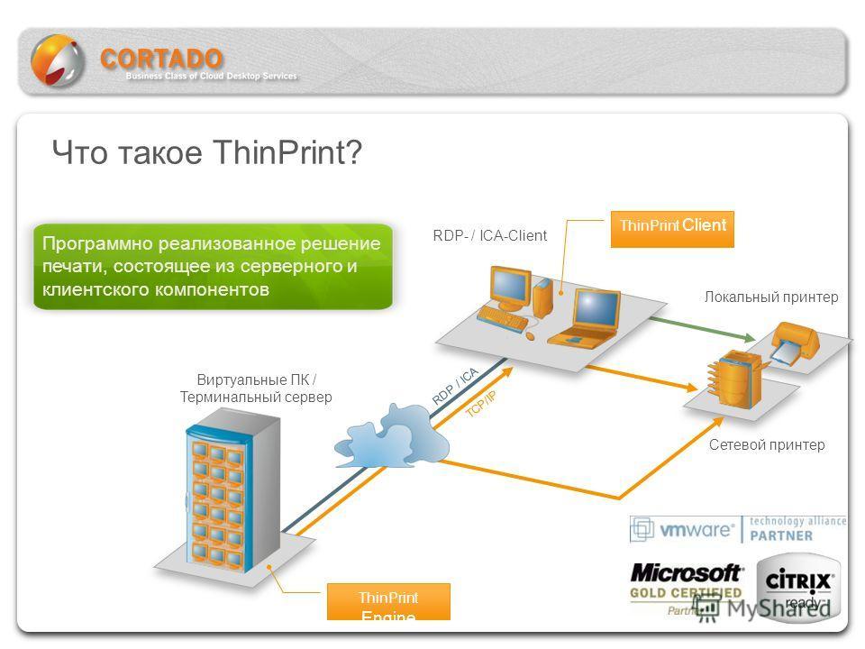 Виртуальные ПК / Терминальный сервер ThinPrint Engine ThinPrint Client RDP- / ICA-Client Локальный принтер Сетевой принтер RDP / ICA TCP/IP Что такое ThinPrint? Программно реализованное решение печати, состоящее из серверного и клиентского компоненто