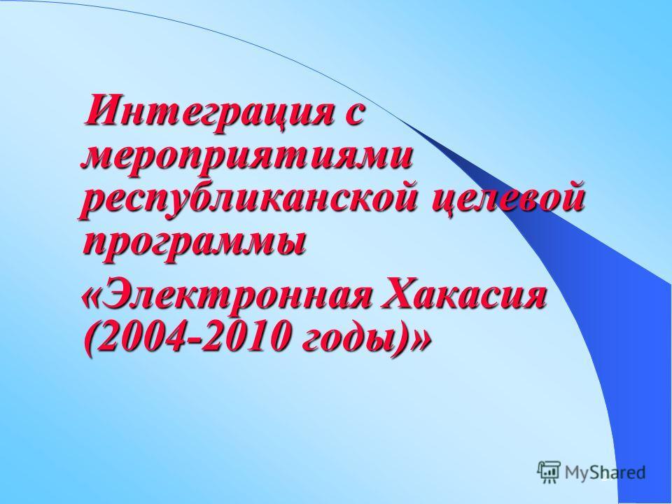 27 Интеграция с мероприятиями республиканской целевой программы Интеграция с мероприятиями республиканской целевой программы «Электронная Хакасия (2004-2010 годы)» «Электронная Хакасия (2004-2010 годы)»
