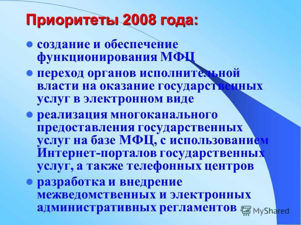 52 Приоритеты 2008 года: создание и обеспечение функционирования МФЦ переход органов исполнительной власти на оказание государственных услуг в электронном виде реализация многоканального предоставления государственных услуг на базе МФЦ, с использован
