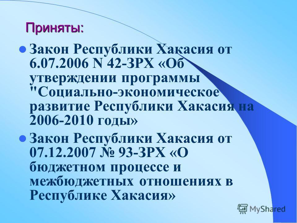 6 Приняты: Закон Республики Хакасия от 6.07.2006 N 42-ЗРХ «Об утверждении программы