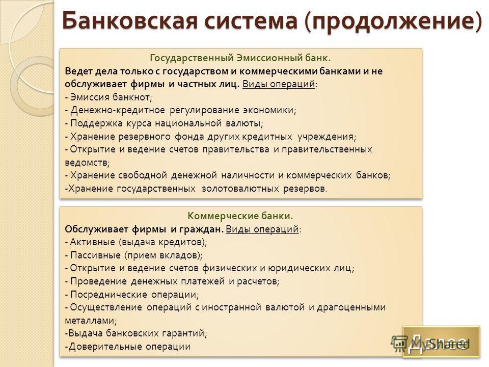 Банковская система ( продолжение ) Государственный Эмиссионный банк. Ведет дела только с государством и коммерческими банками и не обслуживает фирмы и частных лиц. Виды операций : - Эмиссия банкнот ; - Денежно - кредитное регулирование экономики ; -