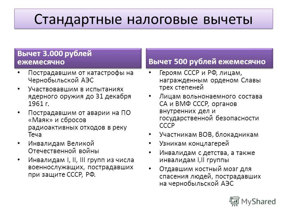 Стандартные налоговые вычеты Вычет 3.000 рублей ежемесячно Пострадавшим от катастрофы на Чернобыльской АЭС Участвовавшим в испытаниях ядерного оружия до 31 декабря 1961 г. Пострадавшим от аварии на ПО «Маяк» и сбросов радиоактивных отходов в реку Теч
