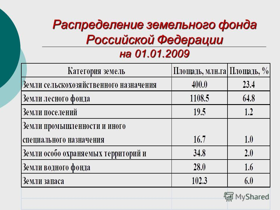 Распределение земельного фонда Российской Федерации на 01.01.2009