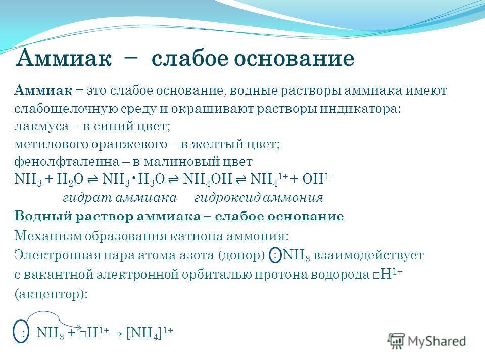 Аммиак слабое основание Аммиак это слабое основание, водные растворы аммиака имеют слабощелочную среду и окрашивают растворы индикатора: лакмуса – в синий цвет; метилового оранжевого – в желтый цвет; фенолфталеина – в малиновый цвет NH 3 + H 2 O NH 3