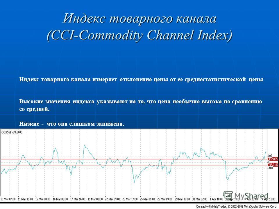 Индекс товарного канала (CCI-Commodity Channel Index) Индекс товарного канала измеряет отклонение цены от ее среднестатистической цены Высокие значения индекса указывают на то, что цена необычно высока по сравнению со средней. Низкие - что она слишко