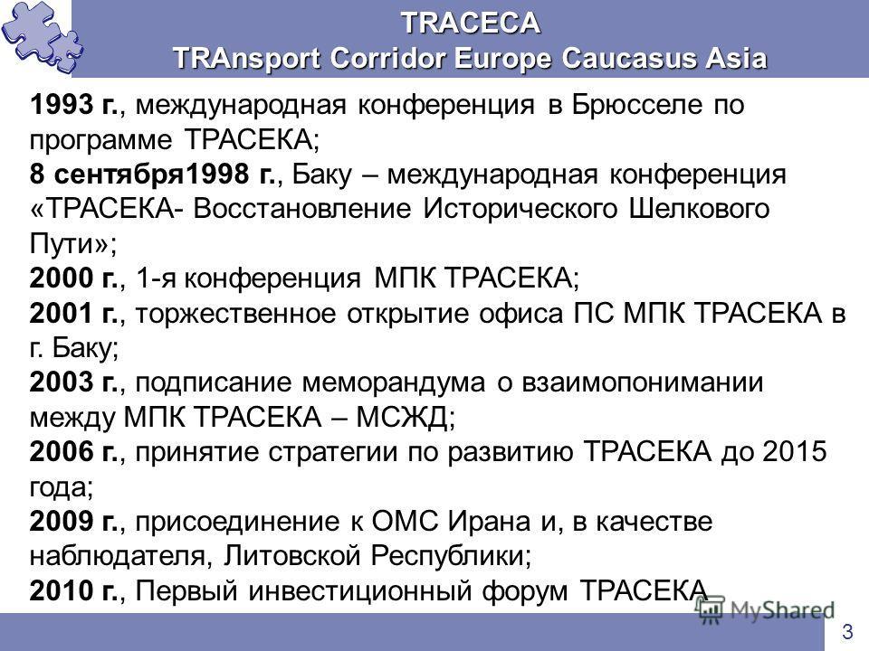 TRACECA TRAnsport Corridor Europe Caucasus Asia 3 1993 г., международная конференция в Брюсселе по программе ТРАСЕКА; 8 сентября1998 г., Баку – международная конференция «ТРАСЕКА- Восстановление Исторического Шелкового Пути»; 2000 г., 1-я конференция