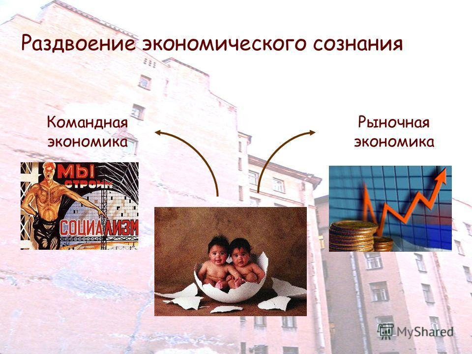 Раздвоение экономического сознания Командная экономика Рыночная экономика