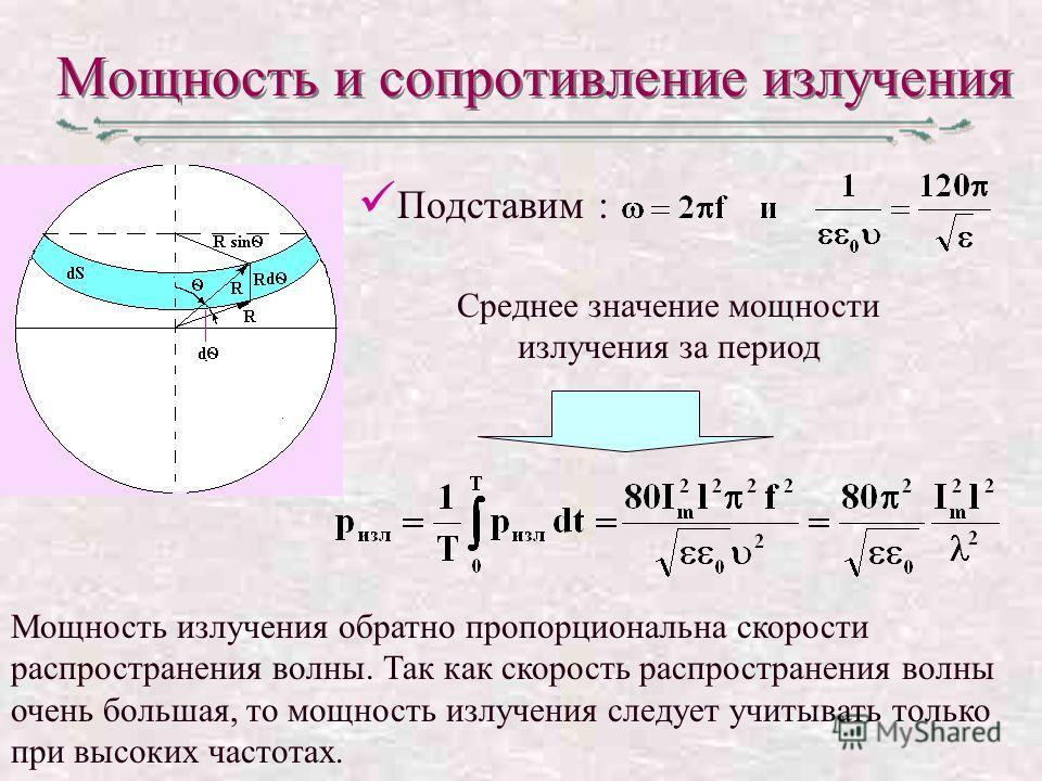 Мощность и сопротивление излучения Подставим : Среднее значение мощности излучения за период Мощность излучения обратно пропорциональна скорости распространения волны. Так как скорость распространения волны очень большая, то мощность излучения следуе
