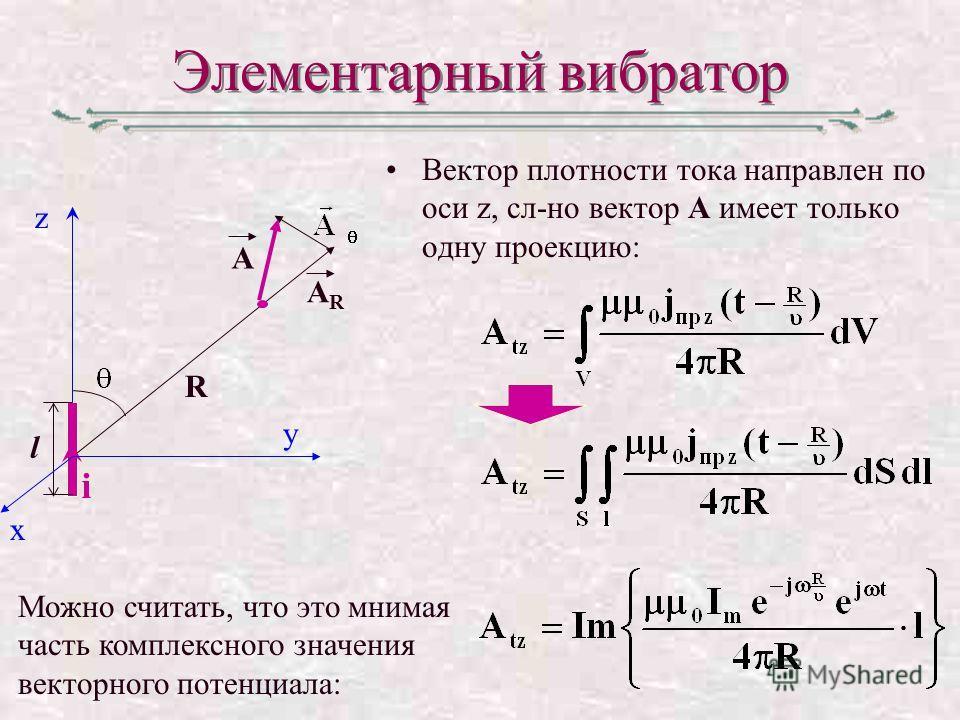 Элементарный вибратор Вектор плотности тока направлен по оси z, сл-но вектор А имеет только одну проекцию: Можно считать, что это мнимая часть комплексного значения векторного потенциала: l R z A i y x ARAR