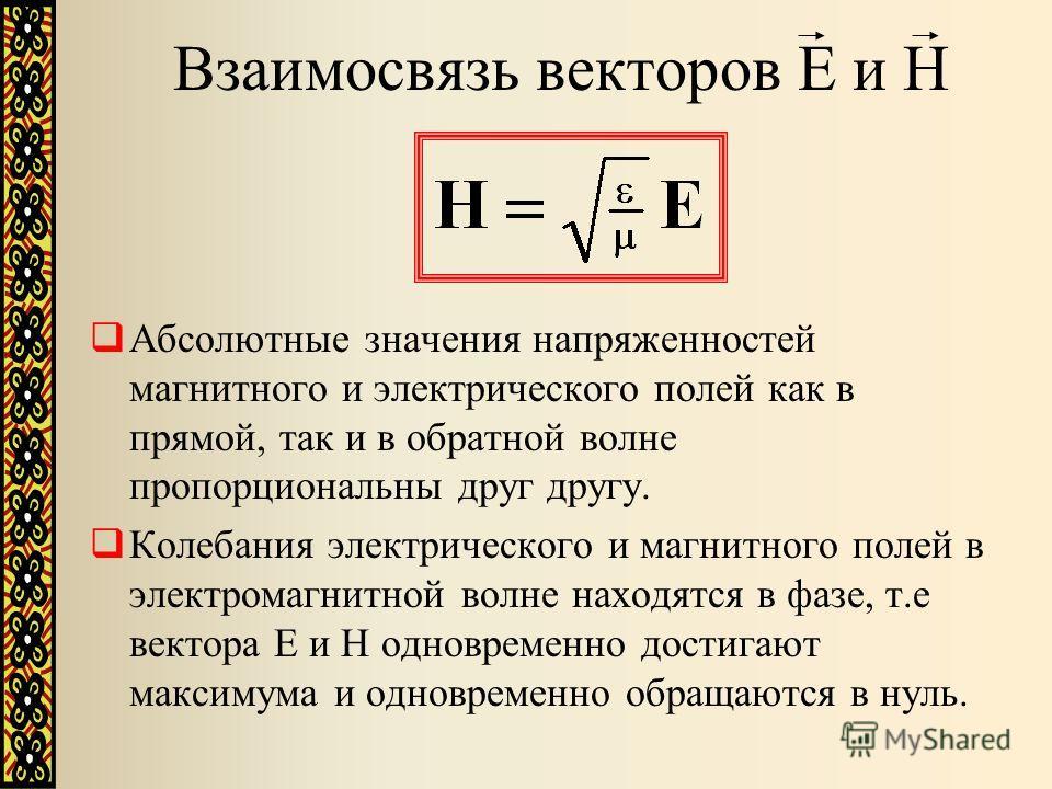 Взаимосвязь векторов Е и Н Абсолютные значения напряженностей магнитного и электрического полей как в прямой, так и в обратной волне пропорциональны друг другу. Колебания электрического и магнитного полей в электромагнитной волне находятся в фазе, т.