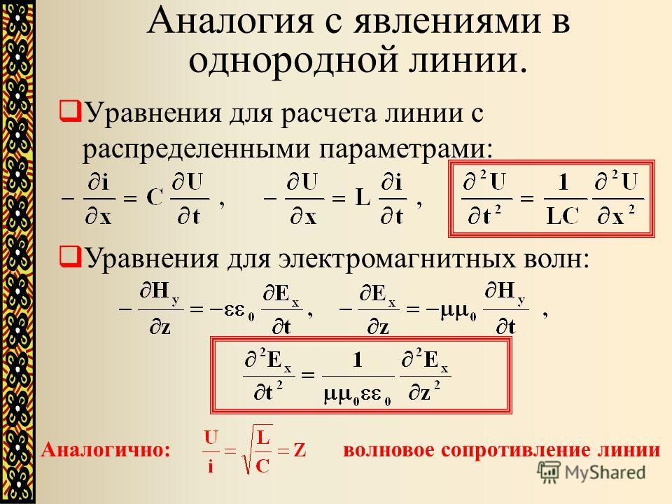 Аналогия с явлениями в однородной линии. Уравнения для расчета линии с распределенными параметрами: Уравнения для электромагнитных волн: Аналогично: волновое сопротивление линии