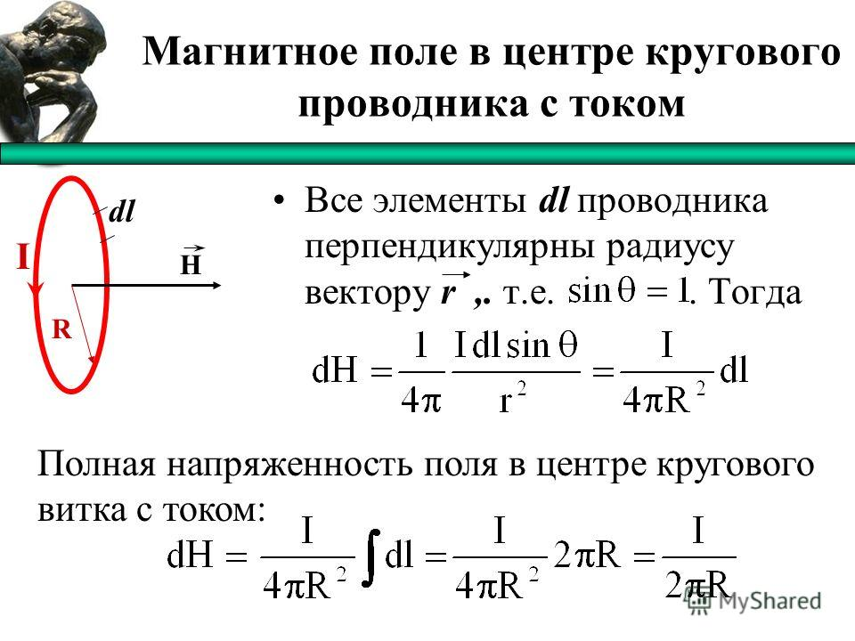 Магнитное поле в центре кругового проводника с током Все элементы dl проводника перпендикулярны радиусу вектору r,. т.е.. Тогда I H dl R Полная напряженность поля в центре кругового витка с током: