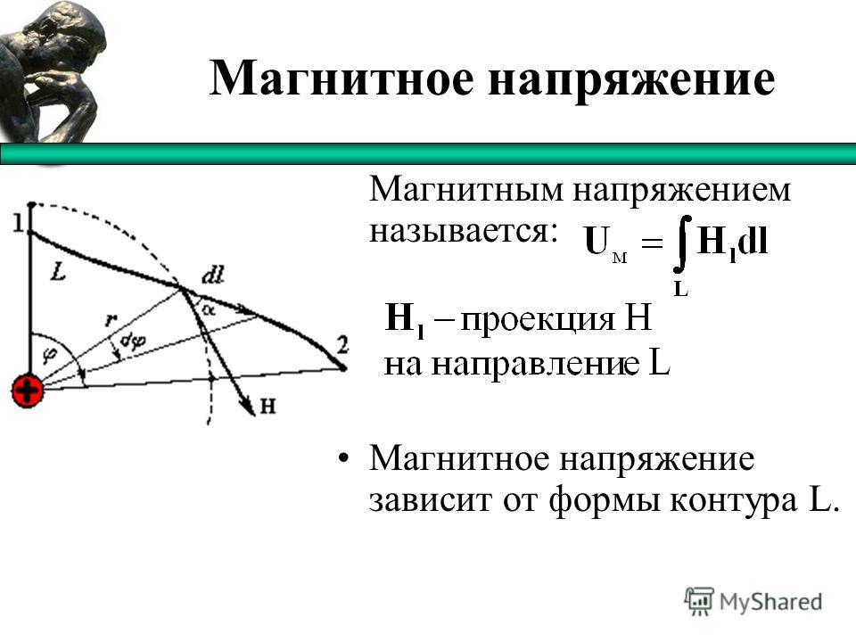 Магнитное напряжение Магнитным напряжением называется: Магнитное напряжение зависит от формы контура L.