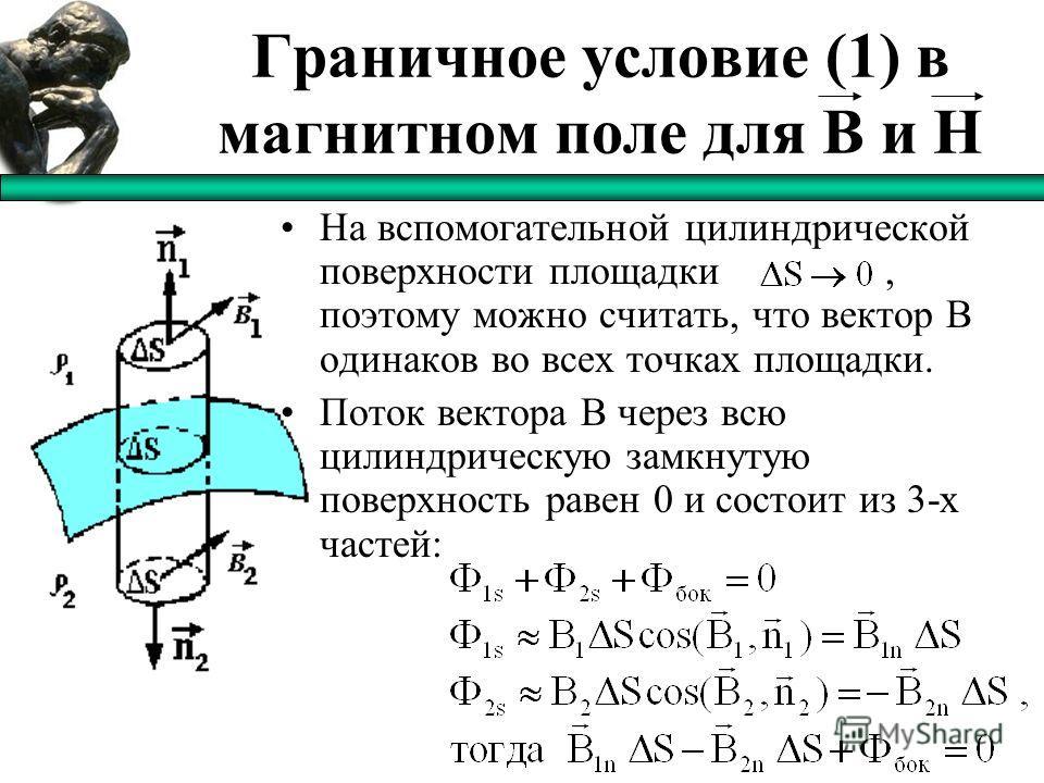 Граничное условие (1) в магнитном поле для B и H На вспомогательной цилиндрической поверхности площадки, поэтому можно считать, что вектор B одинаков во всех точках площадки. Поток вектора В через всю цилиндрическую замкнутую поверхность равен 0 и со