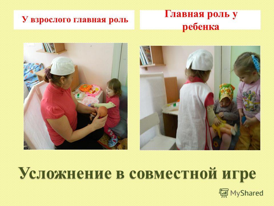 Усложнение в совместной игре У взрослого главная роль Главная роль у ребенка