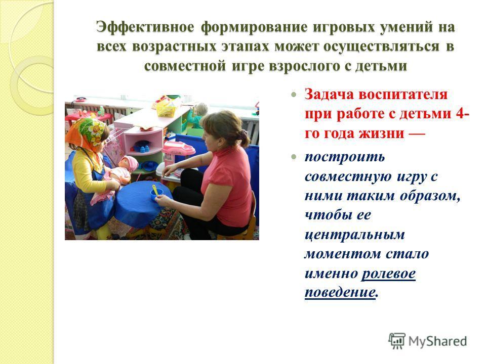 Эффективное формирование игровых умений на всех возрастных этапах может осуществляться в совместной игре взрослого с детьми Задача воспитателя при работе с детьми 4- го года жизни построить совместную игру с ними таким образом, чтобы ее центральным м