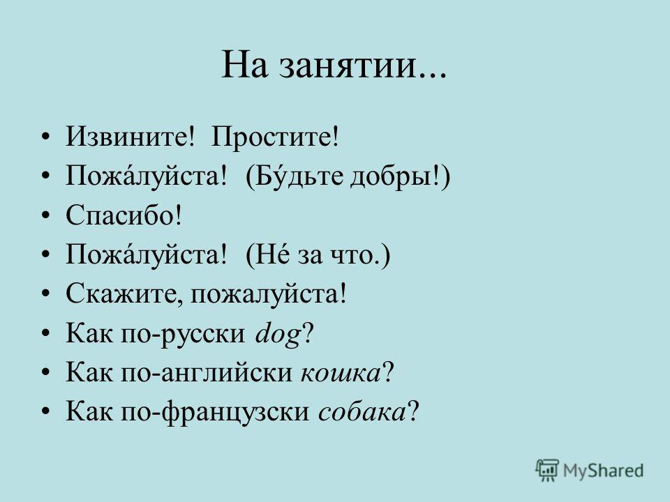 На занятии... Извините! Простите! Пожáлуйста! (Бýдьте добры!) Спасибо! Пожáлуйста! (Нé за что.) Скажите, пожалуйста! Как по-русски dog? Как по-английски кошка? Как по-французски собака?