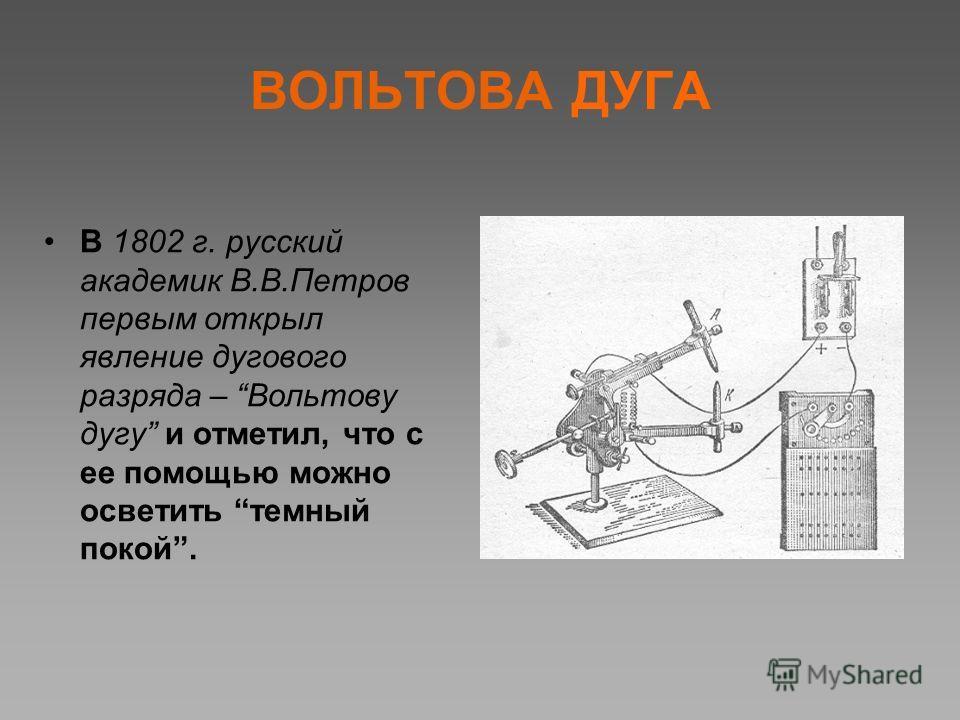 ВОЛЬТОВА ДУГА В 1802 г. русский академик В.В.Петров первым открыл явление дугового разряда – Вольтову дугу и отметил, что с ее помощью можно осветить темный покой.