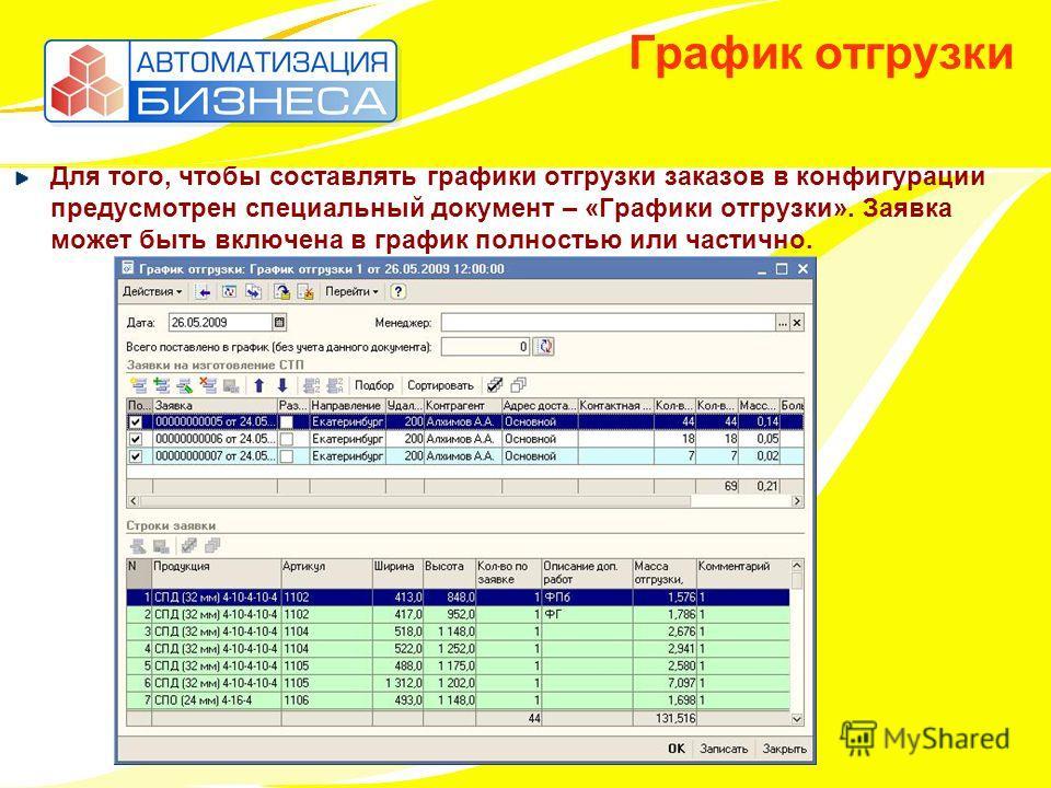 График отгрузки Для того, чтобы составлять графики отгрузки заказов в конфигурации предусмотрен специальный документ – «Графики отгрузки». Заявка может быть включена в график полностью или частично.