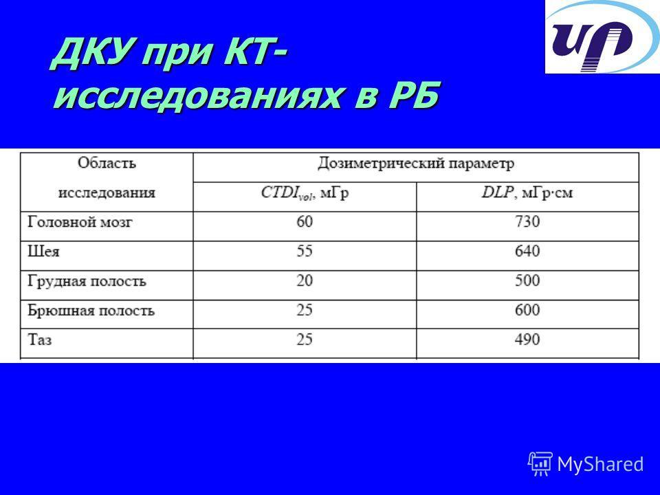 ДКУ при КТ- исследованиях в РБ
