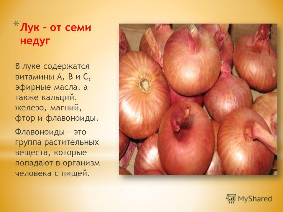 * Лук – от семи недуг В луке содержатся витамины А, В и С, эфирные масла, а также кальций, железо, магний, фтор и флавоноиды. Флавоноиды – это группа растительных веществ, которые попадают в организм человека с пищей.