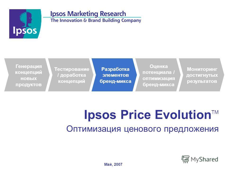 1 Ipsos Price Evolution TM Оптимизация ценового предложения Май, 2007 Тестирование / доработка концепций Разработка элементов бренд-микса Оценка потенциала / оптимизация бренд-микса Мониторинг достигнутых результатов Генерация концепций новых продукт