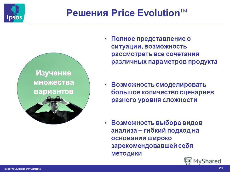 20 Ipsos Price Evolution ® Presentation Изучение множества вариантов Полное представление о ситуации, возможность рассмотреть все сочетания различных параметров продукта Возможность смоделировать большое количество сценариев разного уровня сложности