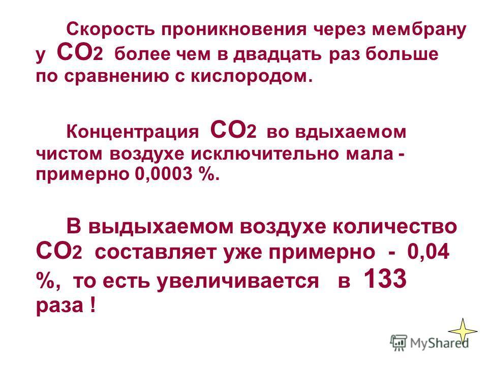 Скорость проникновения через мембрану у СО 2 более чем в двадцать раз больше по сравнению с кислородом. Концентрация СО 2 во вдыхаемом чистом воздухе исключительно мала - примерно 0,0003 %. В выдыхаемом воздухе количество СО 2 составляет уже примерно