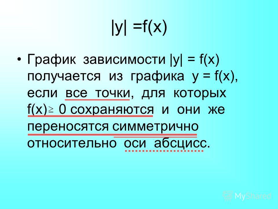 |y| =f(x) График зависимости |y| = f(x) получается из графика у = f(x), если все точки, для которых f(x) 0 сохраняются и они же переносятся симметрично относительно оси абсцисс.