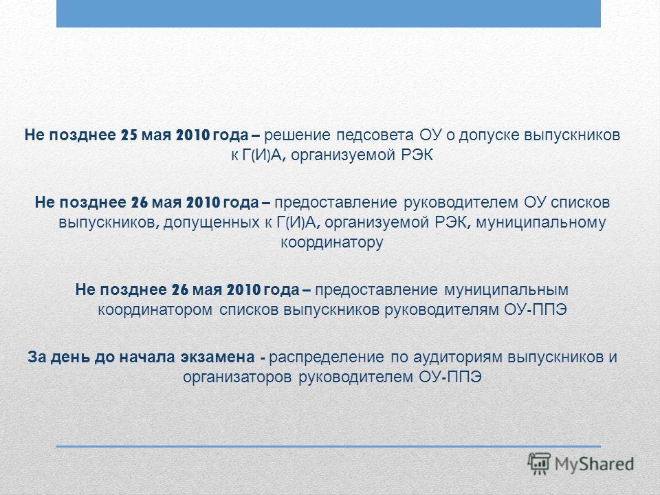 Не позднее 25 мая 2010 года – решение педсовета ОУ о допуске выпускников к Г ( И ) А, организуемой РЭК Не позднее 26 мая 2010 года – предоставление руководителем ОУ списков выпускников, допущенных к Г ( И ) А, организуемой РЭК, муниципальному координ