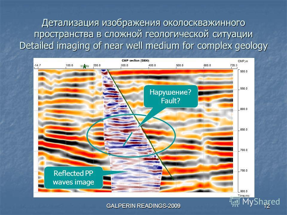 GALPERIN READINGS-200912 Детализация изображения околоскважинного пространства в сложной геологической ситуации Detailed imaging of near well medium for complex geology Нарушение? Fault? Reflected PP waves image