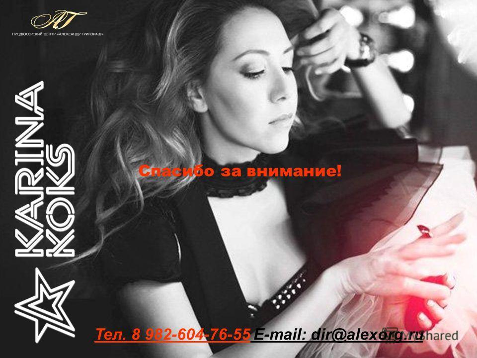 Спасибо за внимание! Тел. 8 982-604-76-55 Е-mail: dir@alexorg.ru