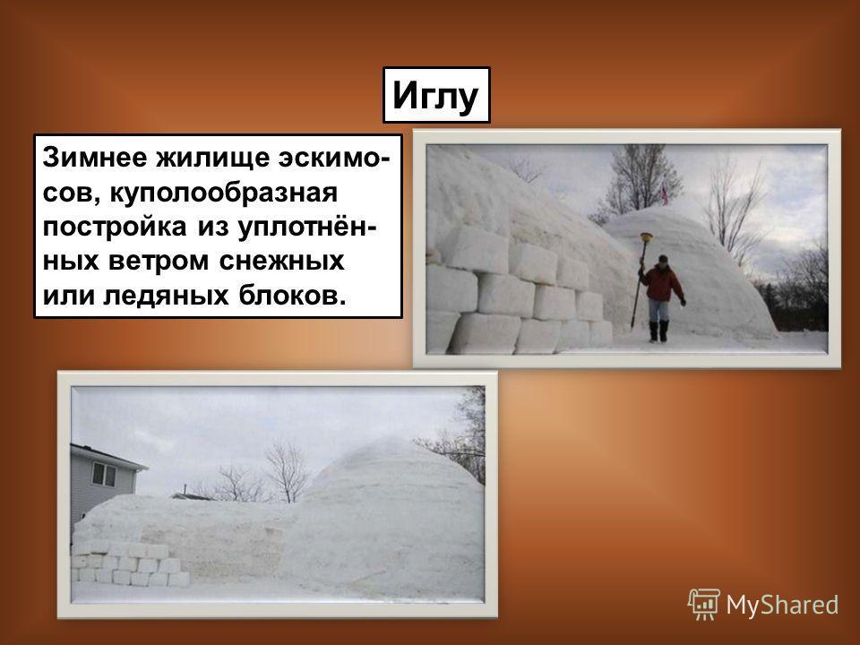 Иглу Зимнее жилище эскимо- сов, куполообразная постройка из уплотнён- ных ветром снежных или ледяных блоков.