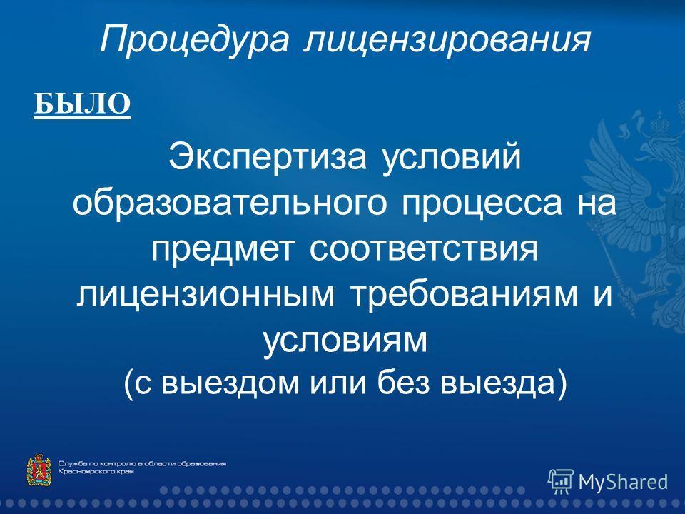 Процедура лицензирования БЫЛО Экспертиза условий образовательного процесса на предмет соответствия лицензионным требованиям и условиям ( с выездом или без выезда )