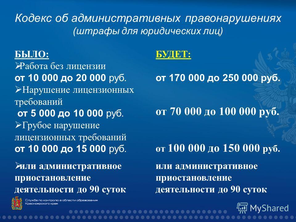 Кодекс об административных правонарушениях ( штрафы для юридических лиц ) БЫЛО : Работа без лицензии от 10 000 до 20 000 руб. Нарушение лицензионных требований от 5 000 до 10 000 руб. Грубое нарушение лицензионных требований от 10 000 до 15 000 руб.
