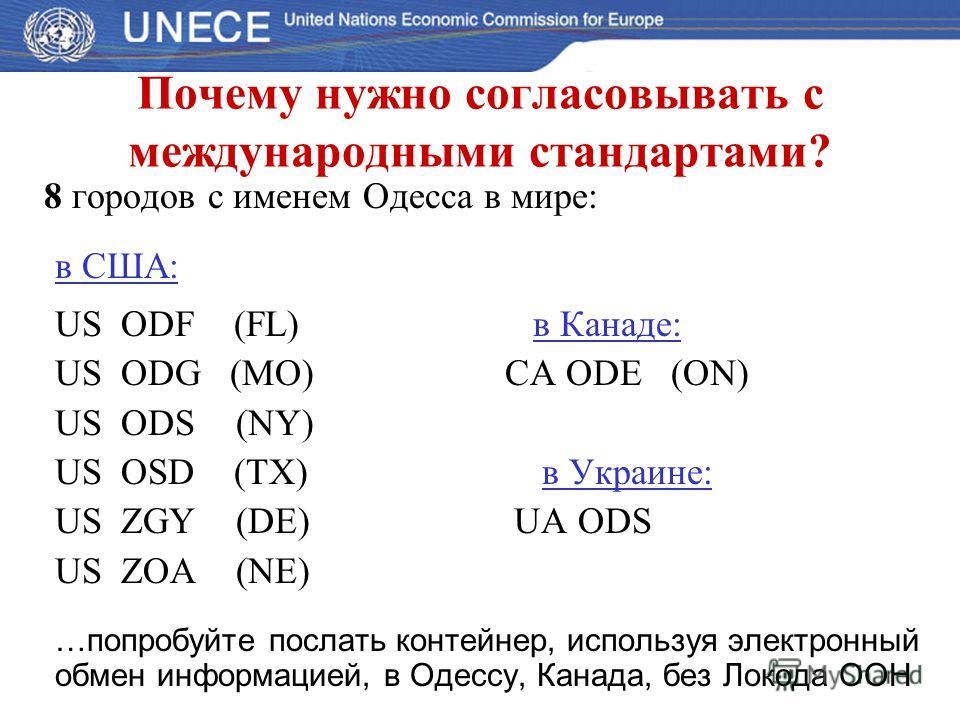 Почему нужно согласовывать с международными стандартами? 8 городов с именем Одесса в мире: в США: US ODF (FL) в Канаде: US ODG (MO)CA ODE (ON) US ODS (NY) US OSD (TX) в Украине: US ZGY (DE) UA ODS US ZOA (NE) … попробуйте послать контейнер, используя
