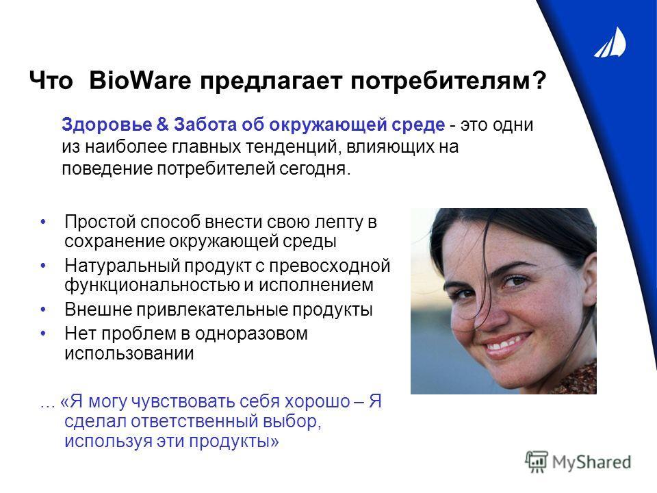 Что BioWare предлагает потребителям? Простой способ внести свою лепту в сохранение окружающей среды Натуральный продукт с превосходной функциональностью и исполнением Внешне привлекательные продукты Нет проблем в одноразовом использовании... «Я могу