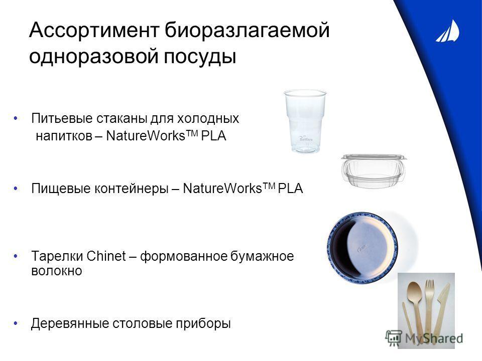 Ассортимент биоразлагаемой одноразовой посуды Питьевые стаканы для холодных напитков – NatureWorks TM PLA Пищевые контейнеры – NatureWorks TM PLA Тарелки Chinet – формованное бумажное волокно Деревянные столовые приборы