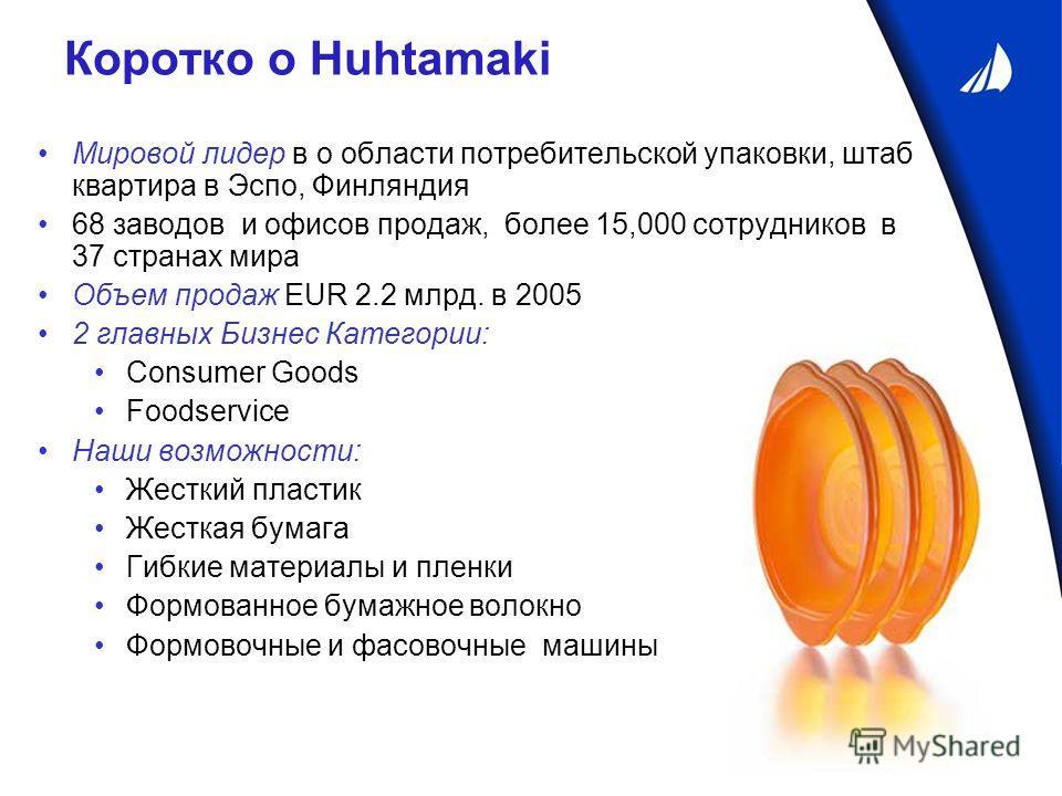 Коротко о Huhtamaki Мировой лидер в о области потребительской упаковки, штаб квартира в Эспо, Финляндия 68 заводов и офисов продаж, более 15,000 сотрудников в 37 странах мира Объем продаж EUR 2.2 млрд. в 2005 2 главных Бизнес Категории: Consumer Good