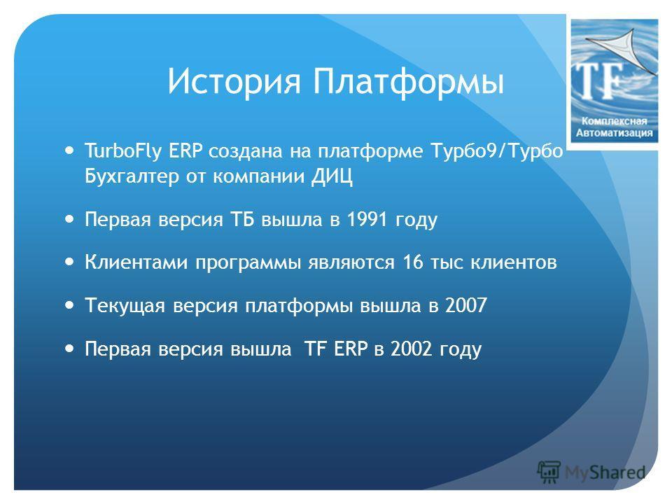 История Платформы TurboFly ERP создана на платформе Турбо9/Турбо Бухгалтер от компании ДИЦ Первая версия ТБ вышла в 1991 году Клиентами программы являются 16 тыс клиентов Текущая версия платформы вышла в 2007 Первая версия вышла TF ERP в 2002 году
