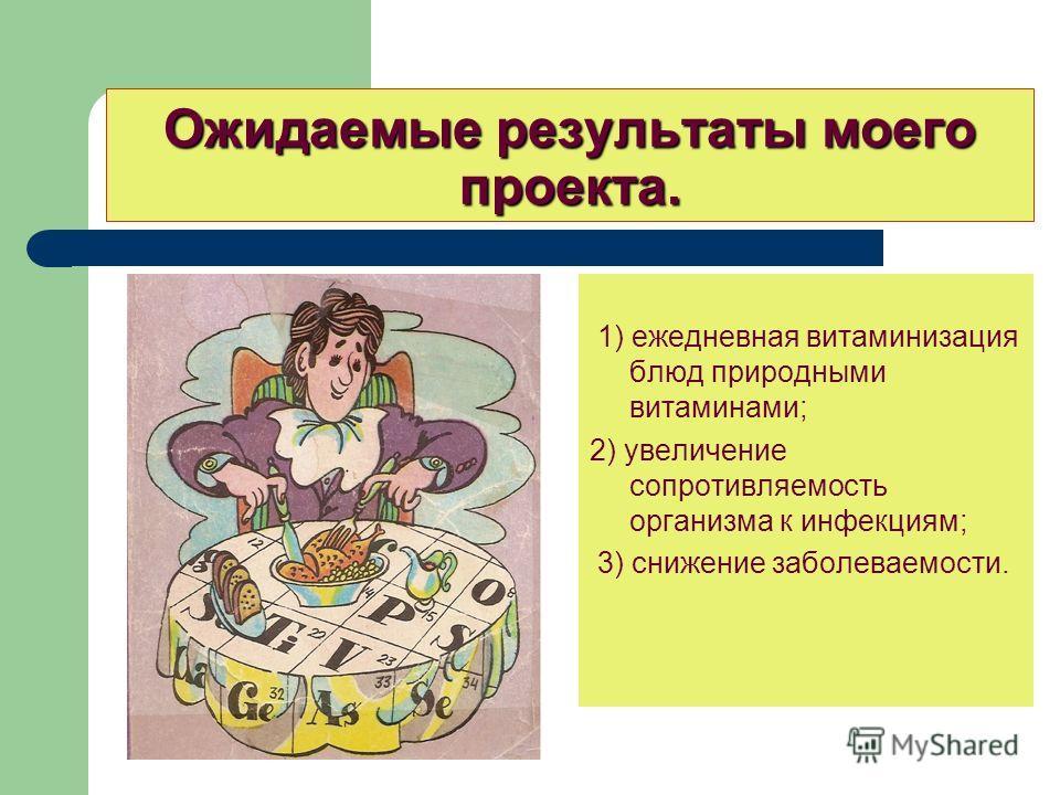 Ожидаемые результаты моего проекта. 1) ежедневная витаминизация блюд природными витаминами; 2) увеличение сопротивляемость организма к инфекциям; 3) снижение заболеваемости.
