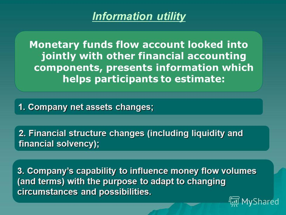 1. Company net assets changes; Monetary funds flow account looked into jointly with other financial accounting components, presents information which helps participants to estimate: Information utility 2. Financial structure changes (including liquid