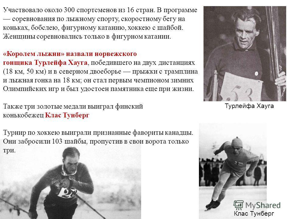 Участвовало около 300 спортсменов из 16 стран. В программе соревнования по лыжному спорту, скоростному бегу на коньках, бобслею, фигурному катанию, хоккею с шайбой. Женщины соревновались только в фигурном катании. «Королем лыжни» назвали норвежского