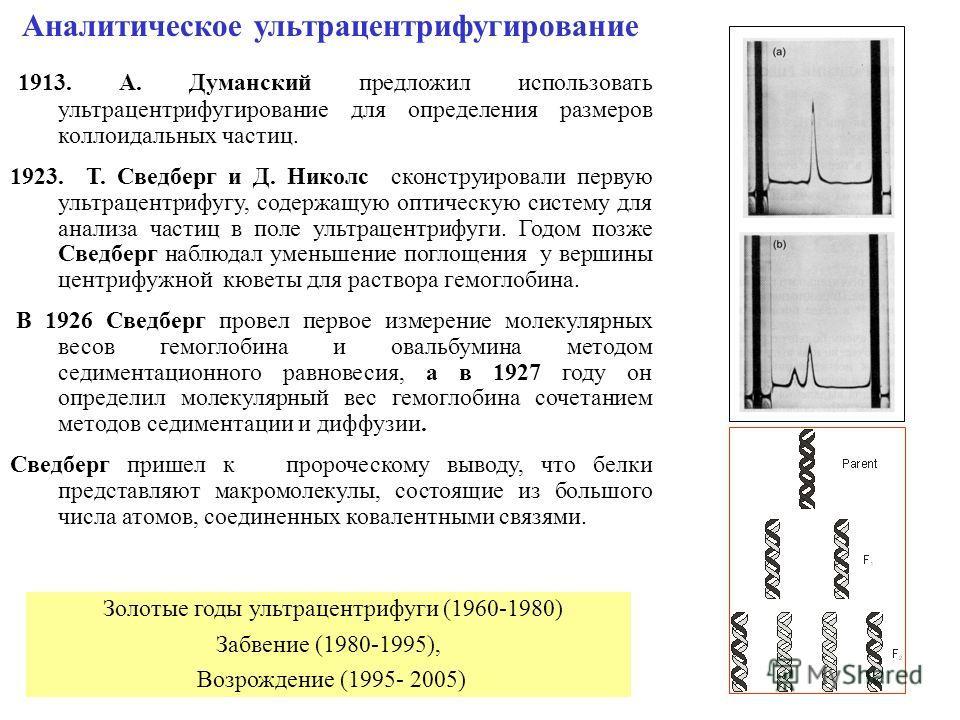 1 Аналитическое ультрацентрифугирование 1913. A. Думанский предложил использовать ультрацентрифугирование для определения размеров коллоидальных частиц. 1923. T. Сведберг и Д. Николс сконструировали первую ультрацентрифугу, содержащую оптическую сист