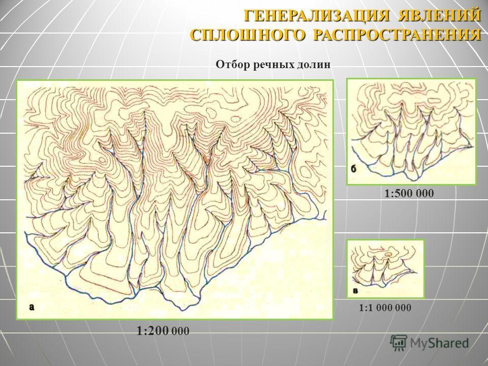 ГЕНЕРАЛИЗАЦИЯ ЯВЛЕНИЙ СПЛОШНОГО РАСПРОСТРАНЕНИЯ Отбор речных долин 1:200 000 1:500 000 1:1 000 000