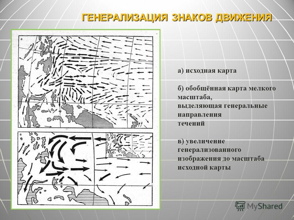 ГЕНЕРАЛИЗАЦИЯ ЗНАКОВ ДВИЖЕНИЯ а) исходная карта б) обобщённая карта мелкого масштаба, выделяющая генеральные направления течений в) увеличение генерализованного изображения до масштаба исходной карты