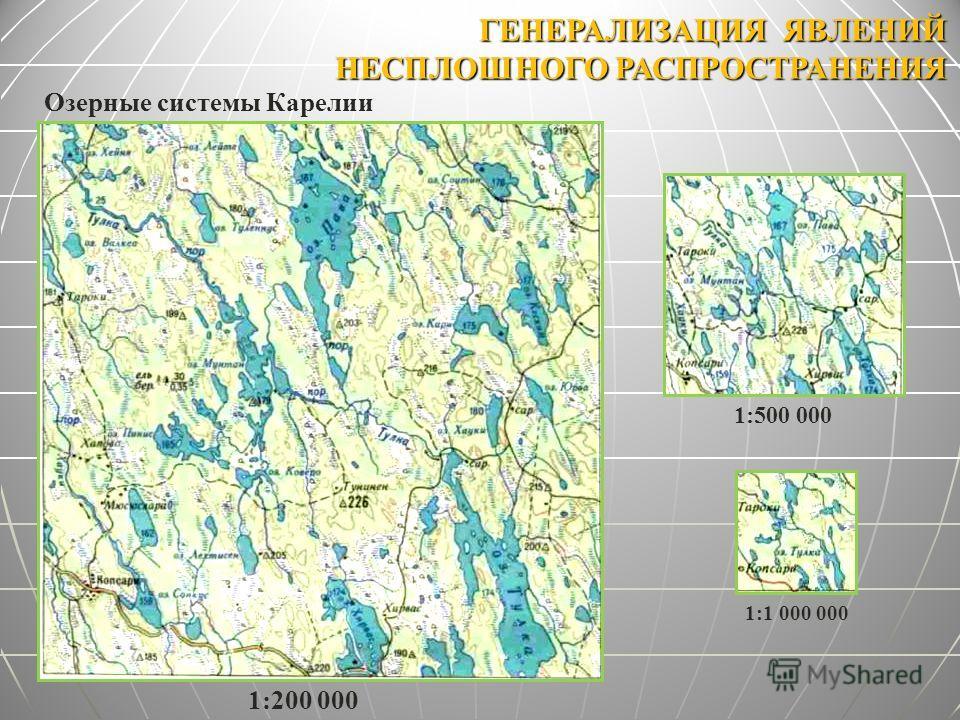 ГЕНЕРАЛИЗАЦИЯ ЯВЛЕНИЙ НЕСПЛОШНОГО РАСПРОСТРАНЕНИЯ 1:500 000 1:1 000 000 1:200 000 Озерные системы Карелии